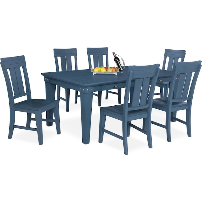 Dining Room Furniture - New Haven Dining Table and 6 Slat-Back Side Chairs - Blue