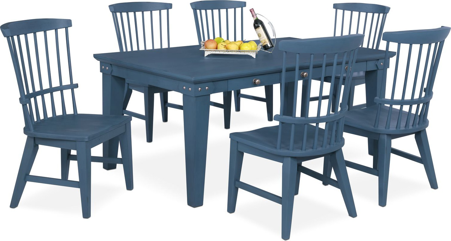 Dining room furniture new haven dining table and 6 windsor side chairs blue