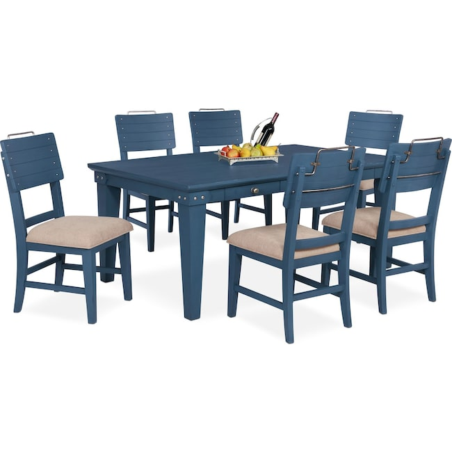 Dining Room Furniture - New Haven Dining Table and 6 Shiplap Side Chairs - Blue