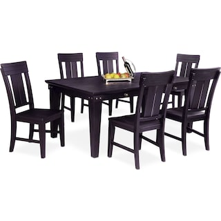 New Haven Dining Table and 6 Slat-Back Side Chairs - Black