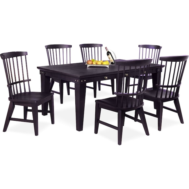 Dining Room Furniture - New Haven Dining Table and 6 Windsor Side Chairs - Black