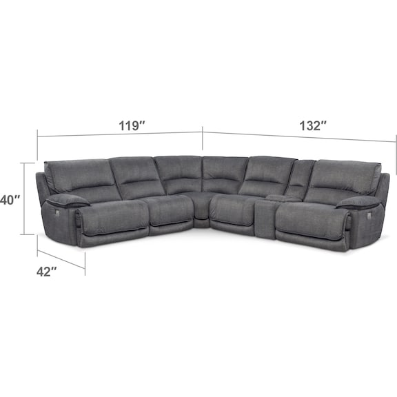Living Room Furniture - Mario 6-Piece Power Reclining Sectional with 3 Reclining Seats