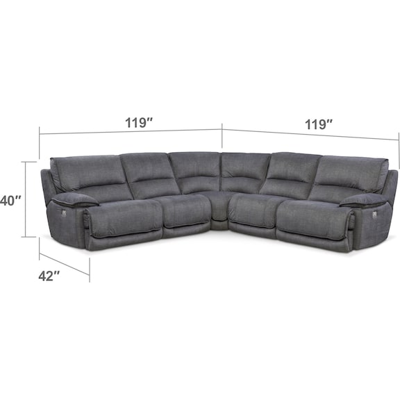 Living Room Furniture - Mario 5-Piece Power Reclining Sectional with 3 Reclining Seats