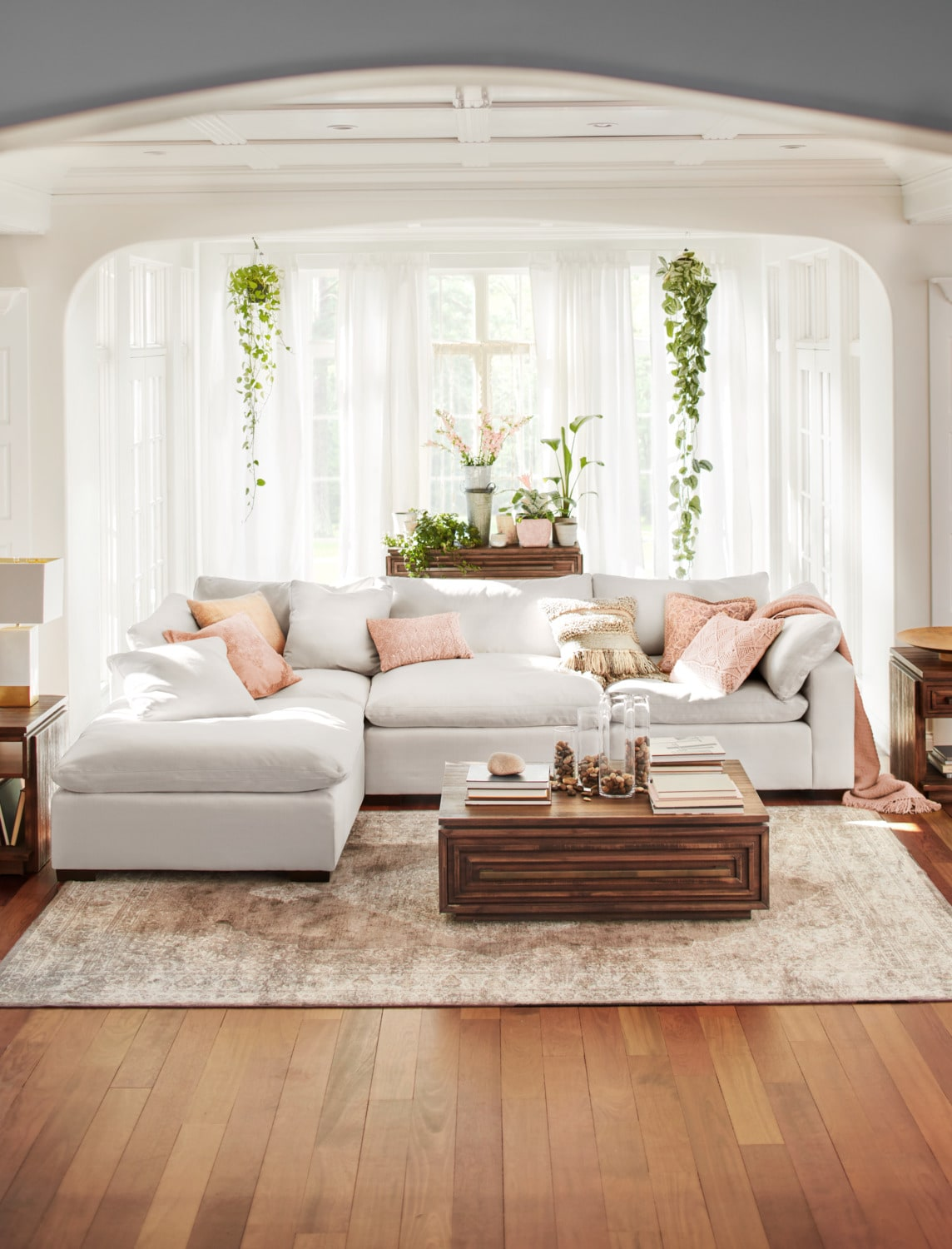 Ordinaire Plush 4 Piece Sectional And Ottoman   Anders Ivory