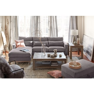 Crosby 2-Piece Sectional with Left-Facing Chaise and Storage Ottoman Set - Gray