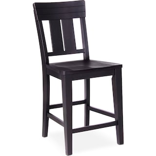 New Haven Counter-Height Slat-Back Stool - Black