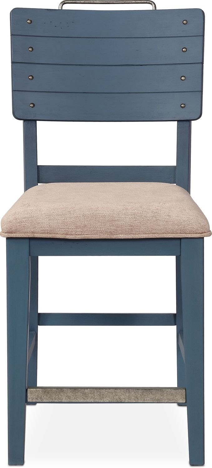New Haven Counter Height Shiplap Stool Blue American