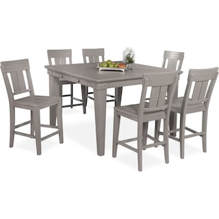 New Haven Counter-Height Dining Table and 6 Slat-Back Stools - Gray