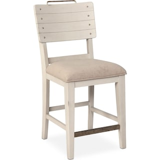 New Haven Counter-Height Shiplap Stool - White