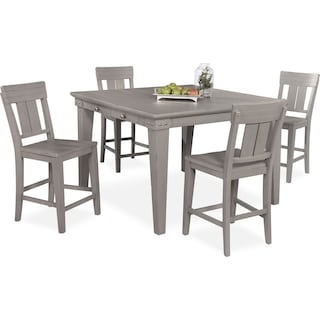 New Haven Counter-Height Dining Table and 4 Slat-Back Stools