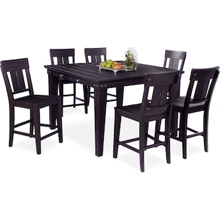 New Haven Counter-Height Dining Table and 6 Slat-Back Stools - Black