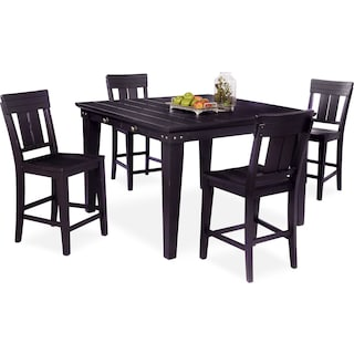 New Haven Counter-Height Dining Table and 4 Slat-Back Stools - Black