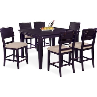 New Haven Counter-Height Dining Table and 6 Shiplap Stools - Black