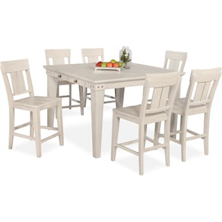 New Haven Counter-Height Dining Table and 6 Slat-Back Stools - White