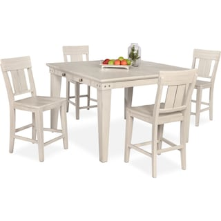New Haven Counter-Height Dining Table and 4 Slat-Back Stools - White