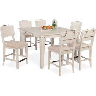 New Haven Counter-Height Dining Table and 6 Shiplap Stools - White