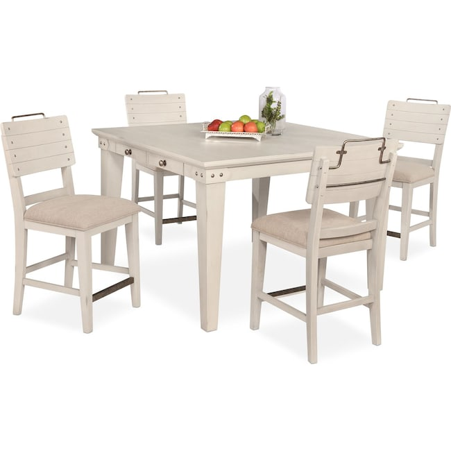 Dining Room Furniture - New Haven Counter-Height Dining Table and 4 Shiplap Stools