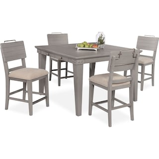New Haven Counter-Height Dining Table and 4 Shiplap Stools - Gray