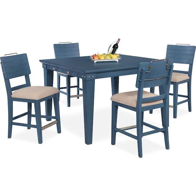 Dining Room Furniture - New Haven Counter-Height Dining Table and 4 Shiplap Stools - Blue