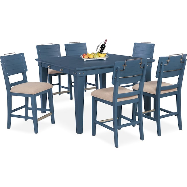 Dining Room Furniture - New Haven Counter-Height Dining Table and 6 Shiplap Stools - Blue