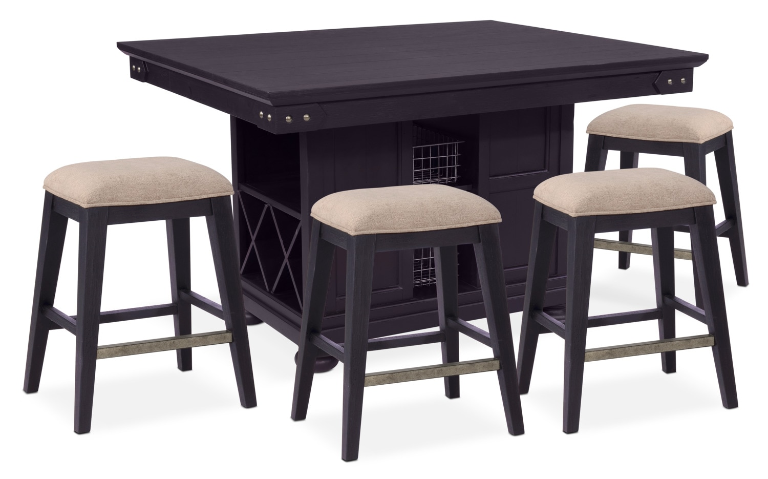 sports shoes 8ee99 07a04 New Haven Counter-Height Kitchen Island and 4 Backless Stools