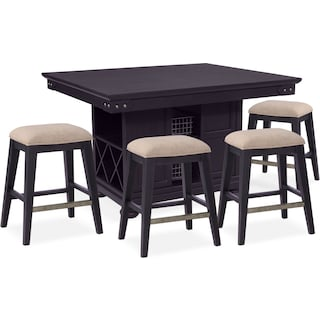 New Haven Counter-Height Kitchen Island and 4 Backless Stools - Black