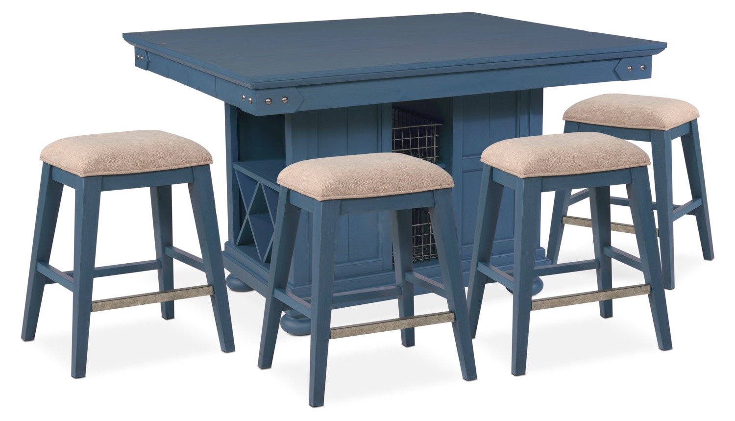 counter height chairs for kitchen island new haven counter height kitchen island and 4 backless stools blue american signature furniture 6414