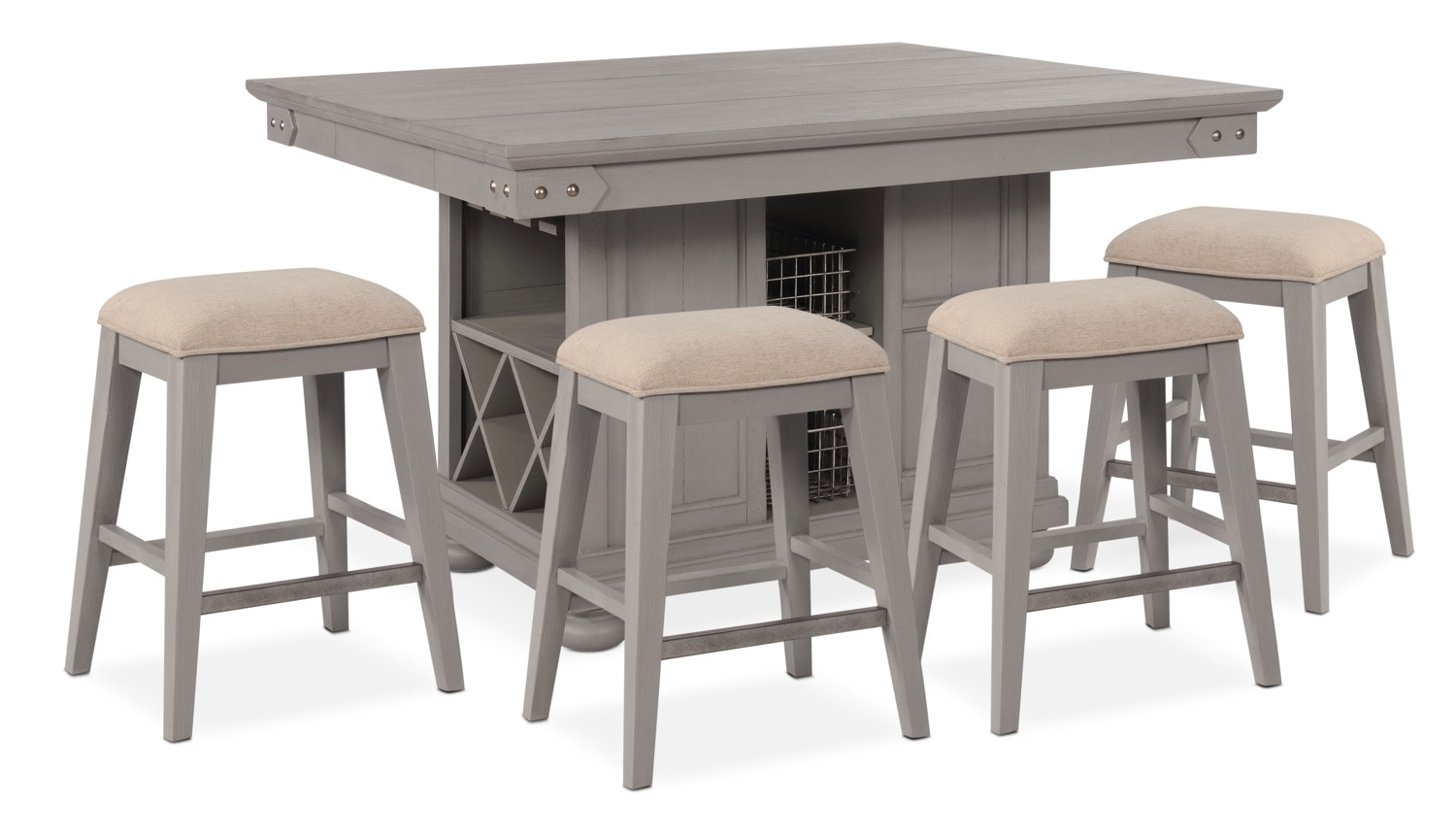 New Haven Counter-Height Kitchen Island and 4 Backless Stools