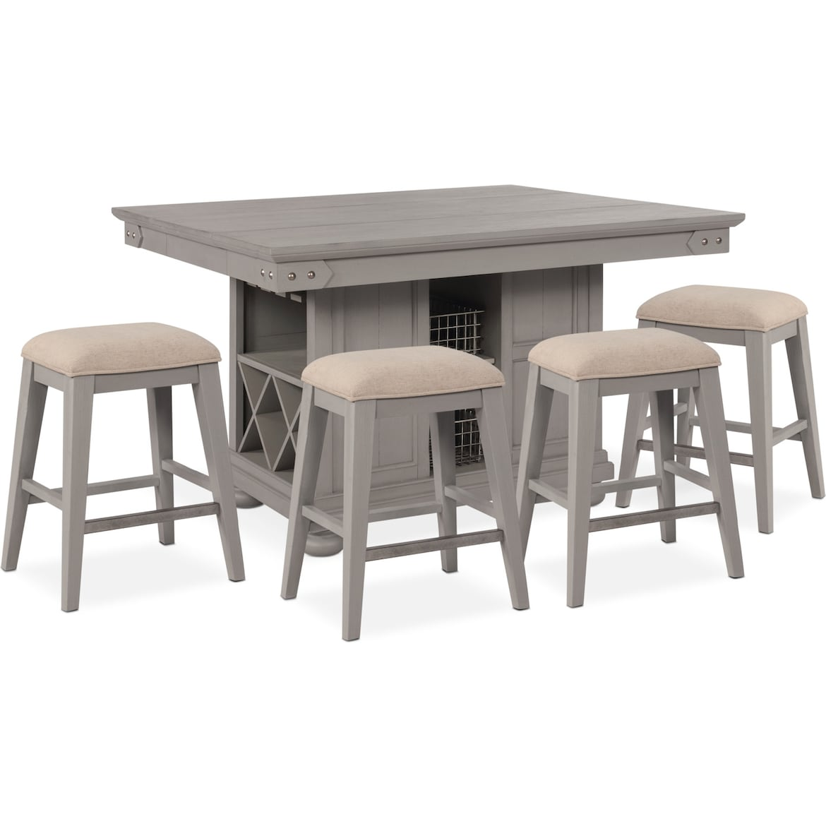 counter height chairs for kitchen island new haven counter height kitchen island and 4 backless stools american signature furniture 179