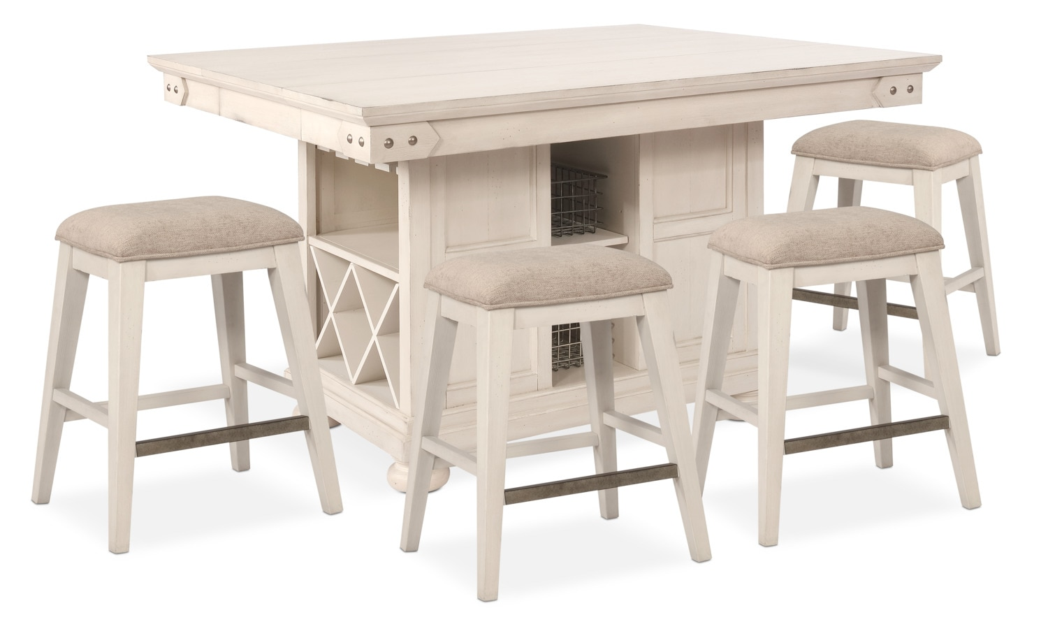 New Haven Counter Height Kitchen Island And 4 Backless Stools