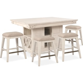 New Haven Counter-Height Kitchen Island and 4 Backless Stools - White