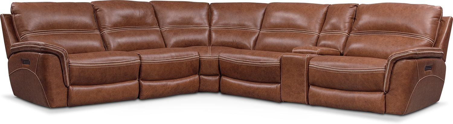 Avanti 6 Piece Triple Power Reclining Sectional With 3 Reclining Seats ...