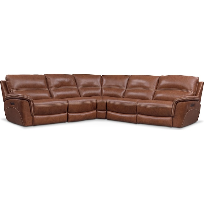 Living Room Furniture - Avanti 5-Piece Triple Power Reclining Sectional with 3 Reclining Seats