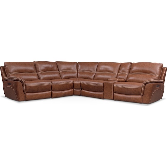 Living Room Furniture - Avanti 6-Piece Triple Power Reclining Sectional with 2 Reclining Seats
