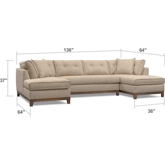 Living Room Furniture - Eastwood 3-Piece Small Sectional - Beige