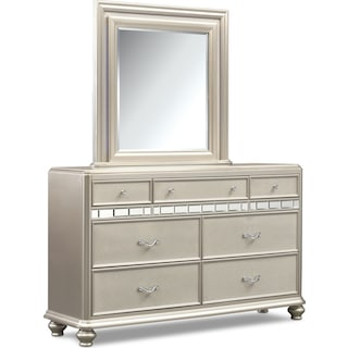 Sabrina Dresser and Mirror - Platinum