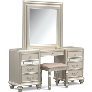 Sabrina Vanity Desk, Mirror and Bench - Platinum