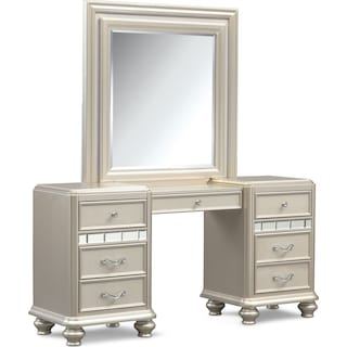 Sabrina Vanity Desk and Mirror - Platinum