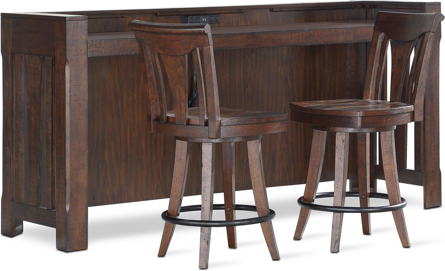 Sheffield bar and 2 counter height stools walnut by apt 1710