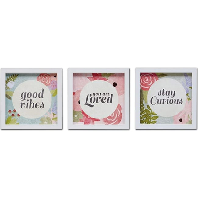 Accent and Occasional Furniture - Good Vibes 3-Piece Framed Print Set