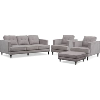 Parker Sofa with Ottoman and 2 Chairs - Gray