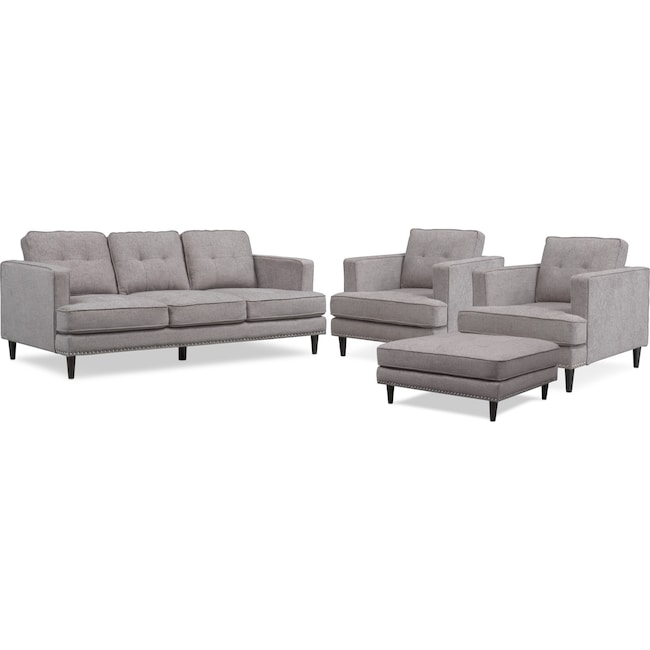 Living Room Furniture - Parker Sofa, 2 Chairs and Ottoman Set - Gray