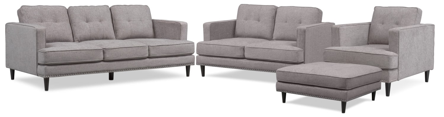 Living Room Furniture - Parker Sofa, Loveseat, Chair and Ottoman