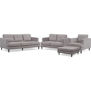 Parker Sofa, Loveseat, Chair and Ottoman - Gray