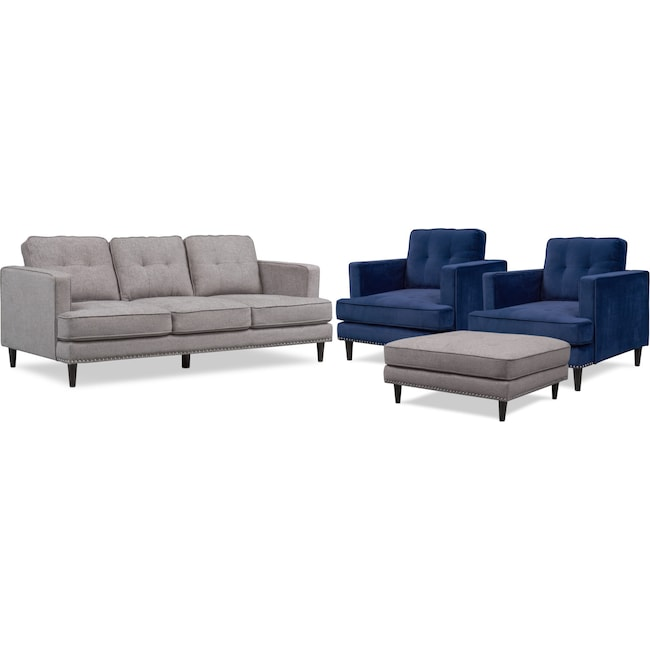 Living Room Furniture - Parker Sofa, 2 Chairs and Ottoman Set - Gray and Indigo