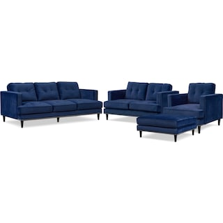 Parker Sofa, Loveseat, Chair and Ottoman Set - Indigo