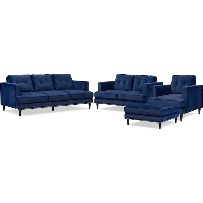 Living Room Furniture - Parker Sofa, Loveseat, Chair and Ottoman Set - Indigo