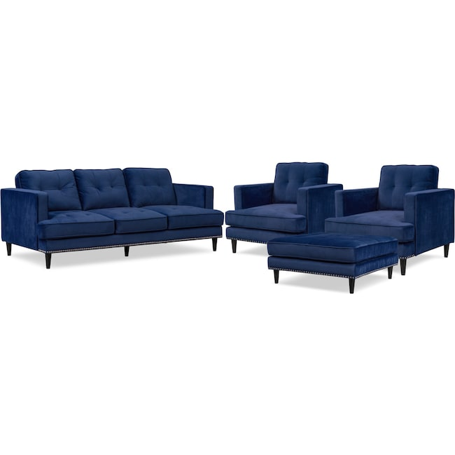 Living Room Furniture - Parker Sofa, 2 Chairs and Ottoman Set - Indigo