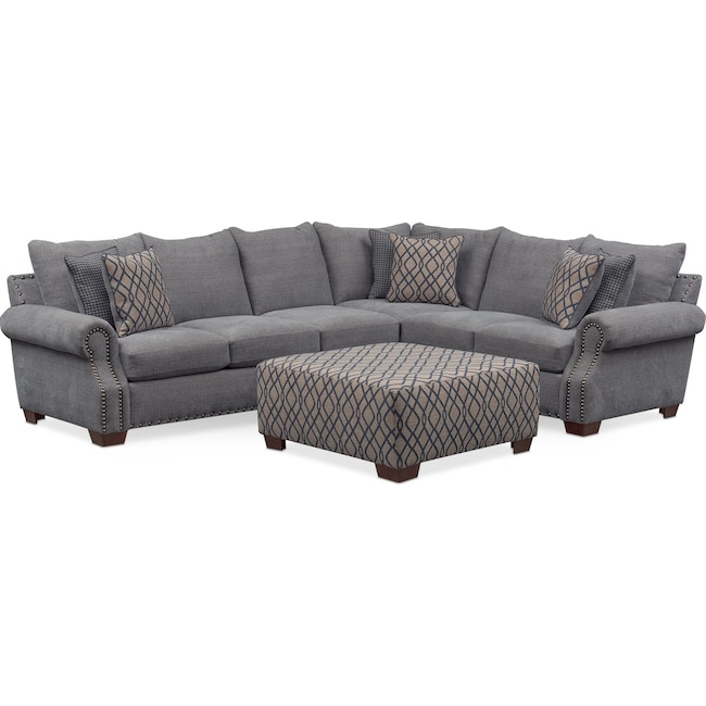 Living Room Furniture - Bolton 2-Piece Sectional with Left-Facing Sofa and Cocktail Ottoman