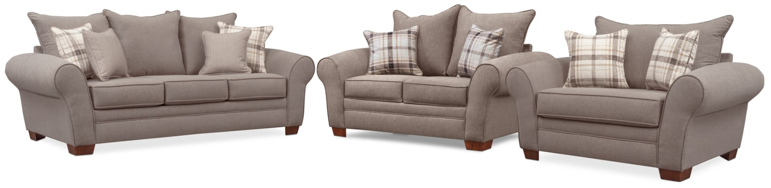 Living Room Furniture - Rowan Sofa, Loveseat and Chair and a Half Set - Gray
